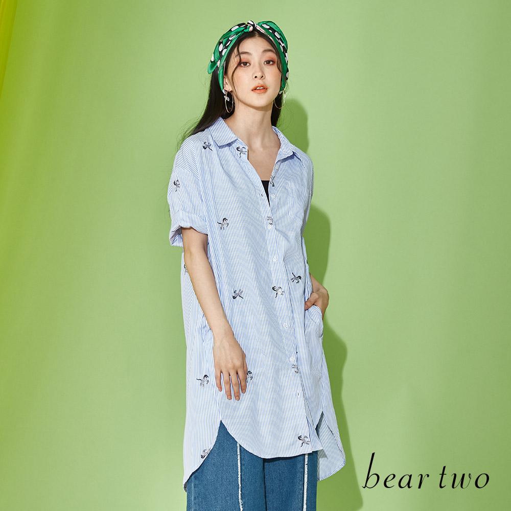 beartwo 小斑馬條紋寬鬆男友風襯衫上衣(二色)