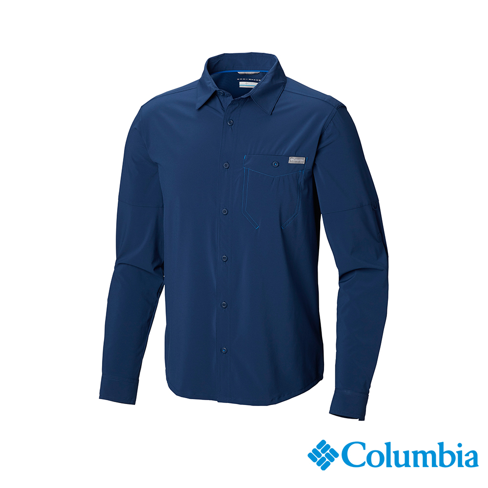 Columbia 哥倫比亞男款-UPF30快排長袖襯衫-深藍 UAM04330NY
