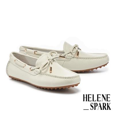 平底鞋 HELENE SPARK 簡約日常蝴蝶結全真皮樂福平底鞋-白