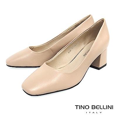 Tino Bellini 簡約原色全真皮方頭跟鞋 _ 膚