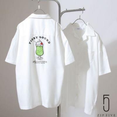 ZIP日本男裝 衣背刺繡短袖寬版開領襯衫 (6色)