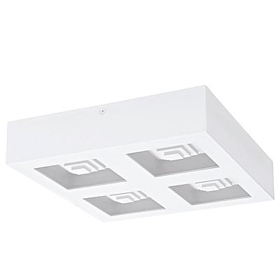 EGLO歐風燈飾 時尚白LED四燈方型吸頂燈