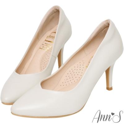 Ann'S舒適療癒系-V型美腿棉羊皮尖頭跟鞋-米白