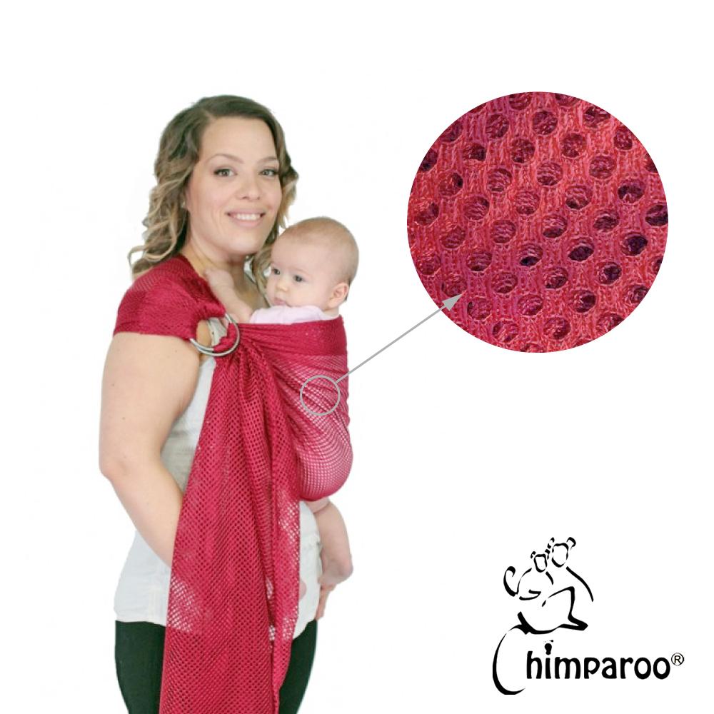 加拿大 Chimparoo Ring Sling Air-O 透氣雙環親密揹巾-胭脂紅