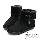 GDC-秋冬絨毛可愛俏皮基本款側扣飾小短靴-黑色