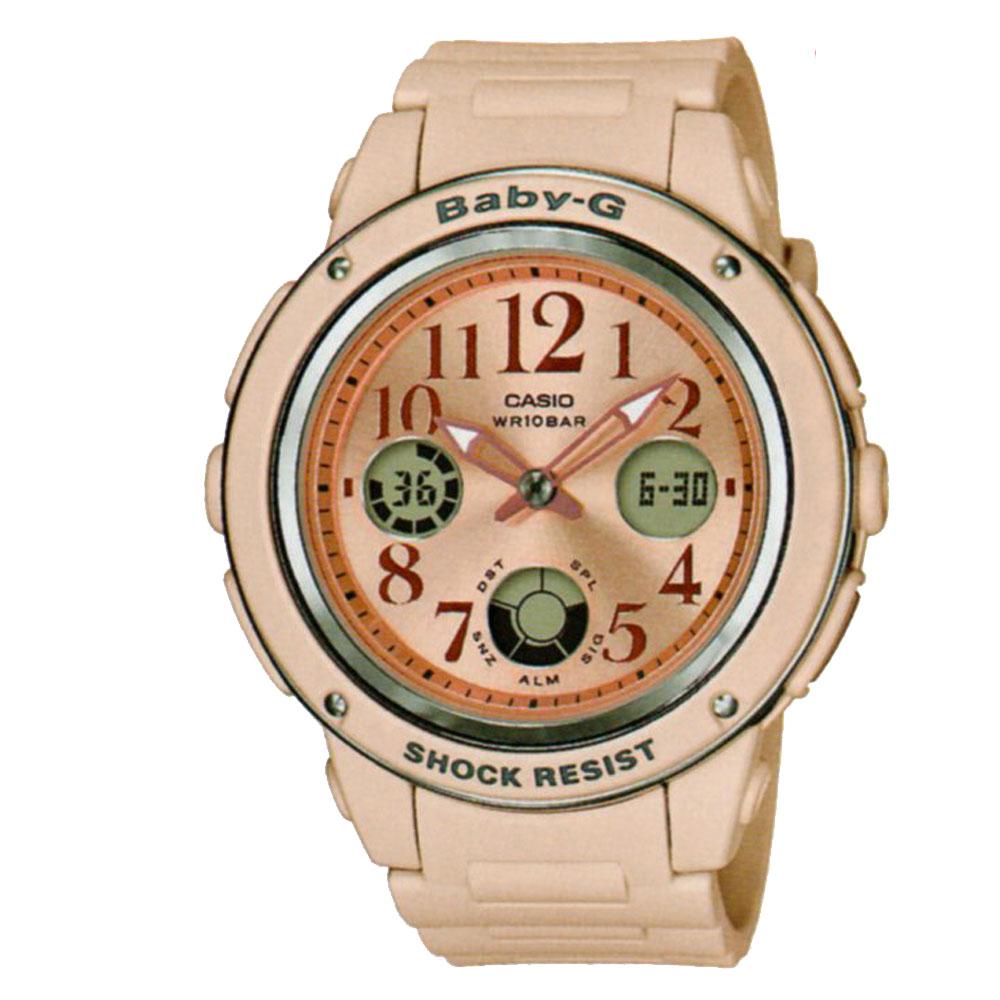 BABY-G 婉約時尚個性百搭杏粉色系休閒運動錶(BGA-150CP-4)43mm