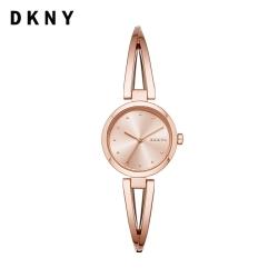 【DKNY】Crosswalk 經典雅致 交叉環狀玫瑰金手鐲錶 26MM NY2812
