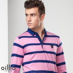 oillio歐洲貴族 男裝 長袖防皺針織線衫 POLO領紳士休閒 粉紅色