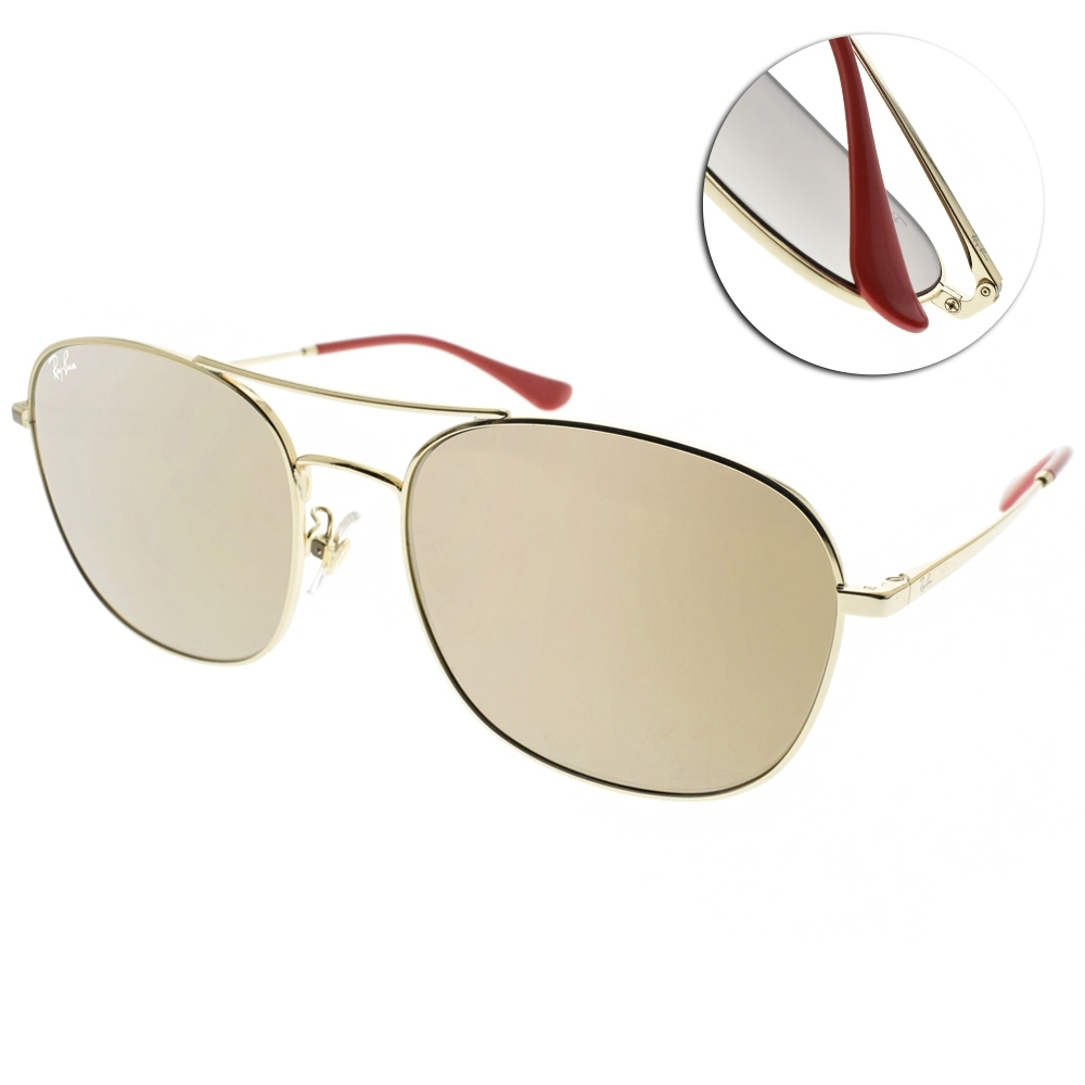 RAY BAN太陽眼鏡 新春限量時髦雙槓款/金-淺金水銀褐 #RB3613D 92005A