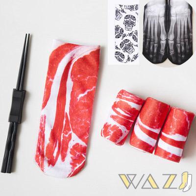 Wazi-萬聖節骷髏肉肉印花短襪 (1組三入)