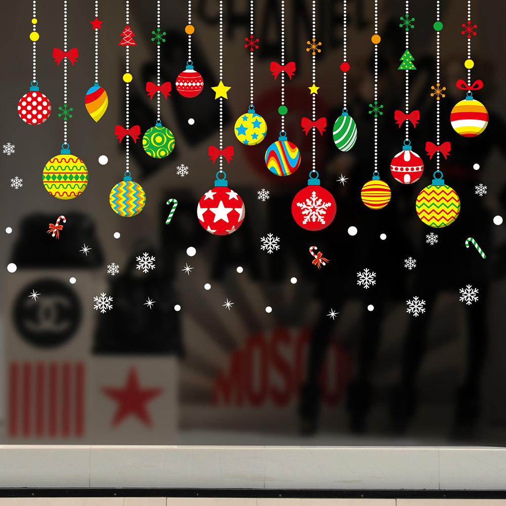 半島良品 聖誕壁貼-聖誕七彩吊飾 XH6258 45x60cm