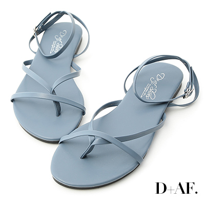 D+AF 自在滿分.一字夾腳繫踝平底涼鞋*藍