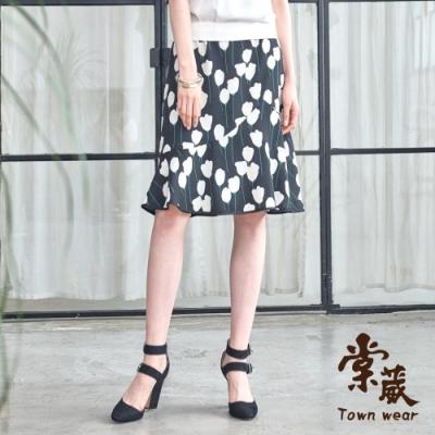 【TOWNWEAR棠葳】 典雅花卉拼接魚尾裙