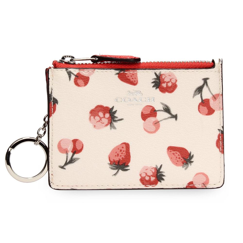 COACH 經典櫻桃草莓PVC撞色防刮皮革證件夾零錢鎖包-紅/白色