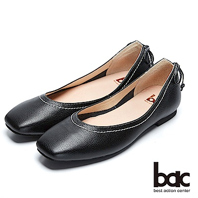 【bac】都會新秀 - 復古感小方頭後開衩綁帶平底包鞋