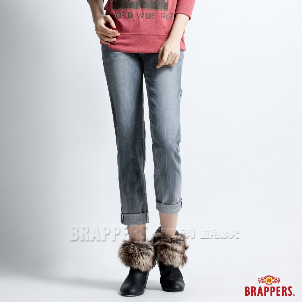 BRAPPERS 女款 BoyFirendWork系列-女用九分反摺工作褲-淺黑灰