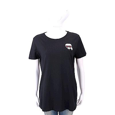 Karl Lagerfeld IKONIK EMOJI 愛心眼刺繡補丁黑色純棉T恤