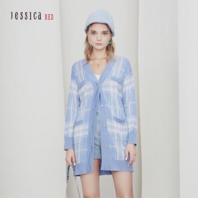 JESSICA RED - 藍色格紋編織寬鬆舒適長款針織開衫外套