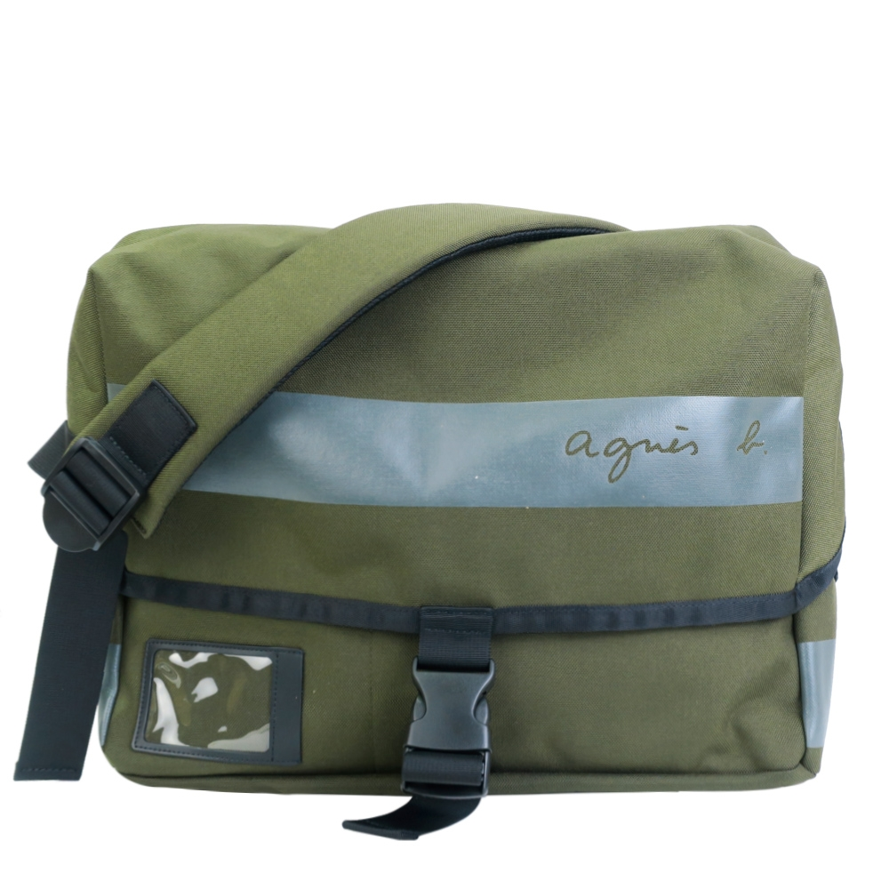 agnes b. CORDURA橫紋帆布郵差包-軍綠(展示品)