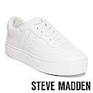 STEVE MADDEN-LUCK 純色綁帶厚底鞋-白色