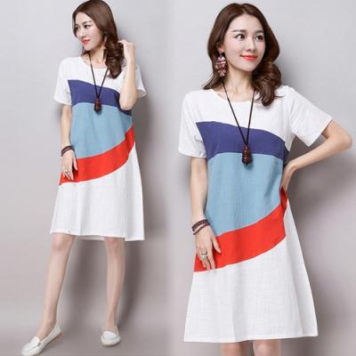 初色  森-四色拼接短袖棉麻連衣裙-白色-(L-2XL可選)