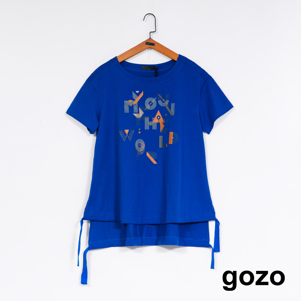 gozo 幾何印花抽繩下擺上衣(二色)