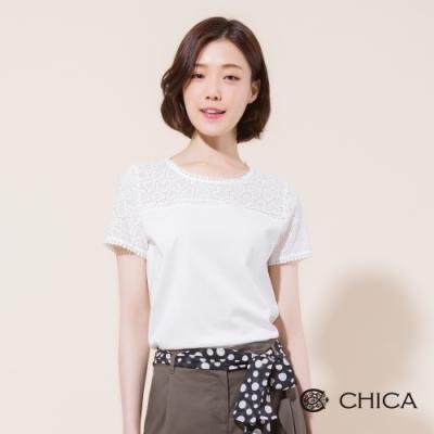 CHICA 質感蕾絲拼接純棉短袖T恤(2色)