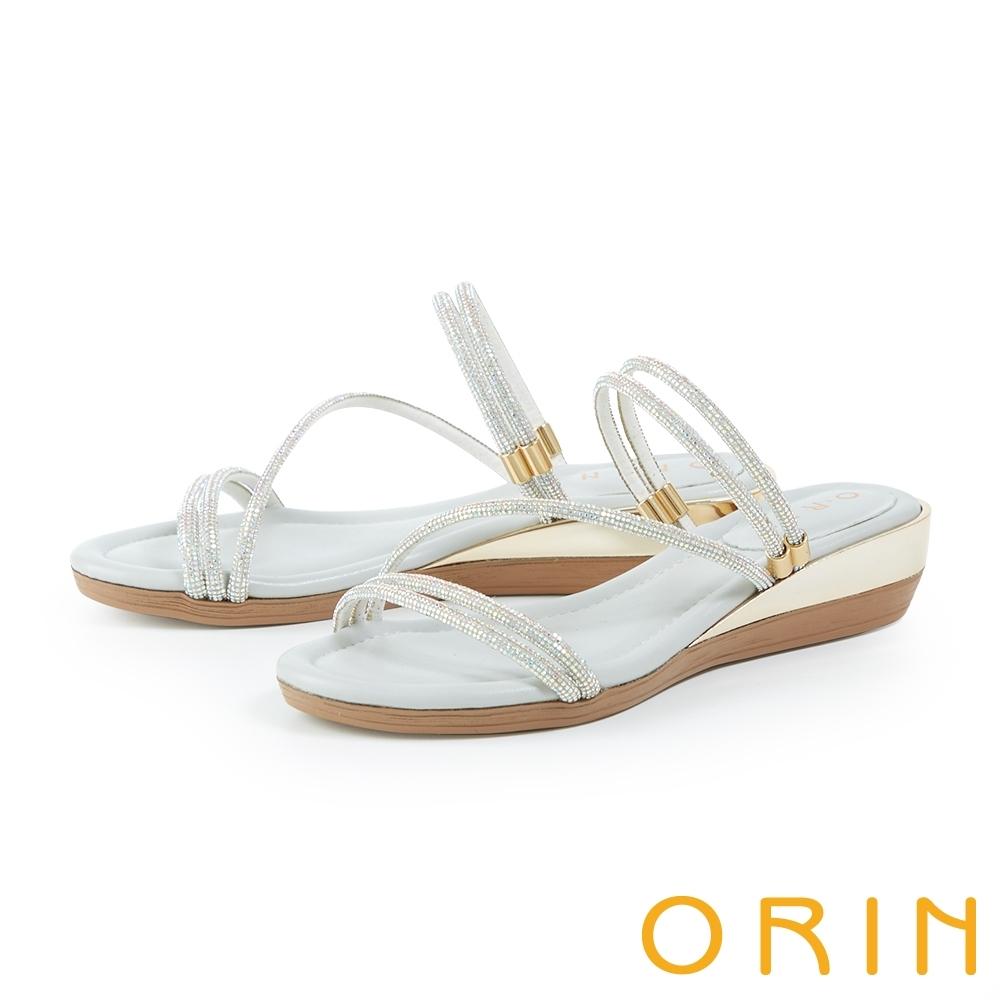 ORIN 水鑽斜邊鑲金厚底 女 拖鞋 銀色