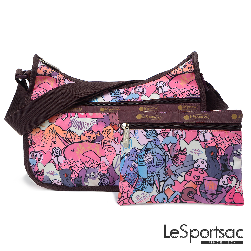 LeSportsac - Standard側背水餃包/流浪包-附化妝包 (紫色童話)