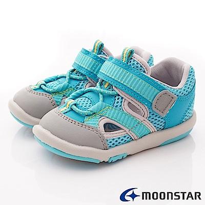 日本月星頂級童鞋 運動護趾涼鞋 FI119藍(寶寶段)