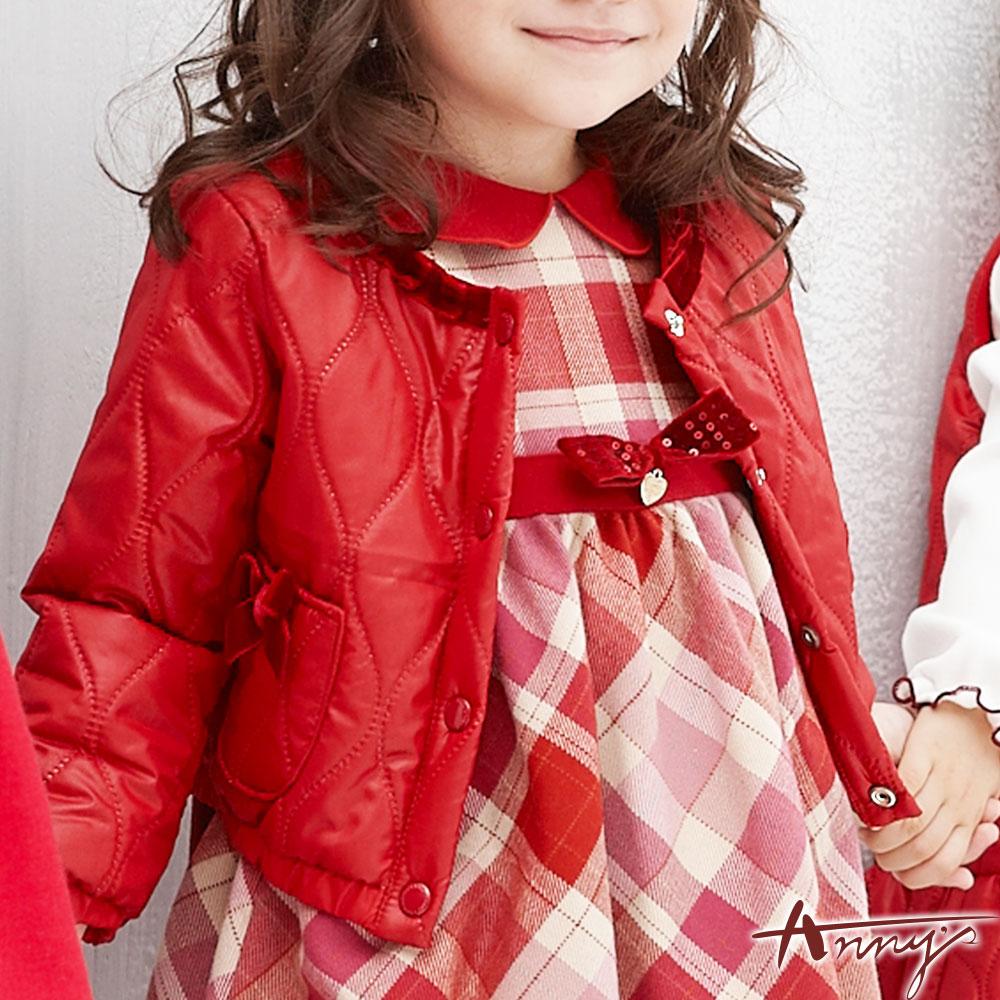 Annys獨特鋪棉雙口袋荷葉領外套*5654紅