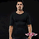 塑身衣 帥勁流線 彈性束腹短袖運動上衣(黑M~XL)AngelHoney天使霓裳