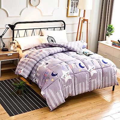 A-one - 可水洗-雙人床包/羽絲絨被四件組_藍色星空