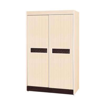 Birdie南亞塑鋼-洛娜4尺二推/拉門塑鋼衣櫃(白橡色+胡桃色)-121x61x196cm