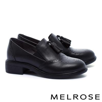 低跟鞋 MELROSE 復古學院風流蘇全真皮低跟鞋-黑