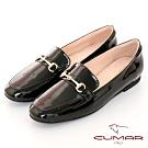 【CUMAR】極簡生活素面馬銜釦裝飾樂福平底鞋-黑色
