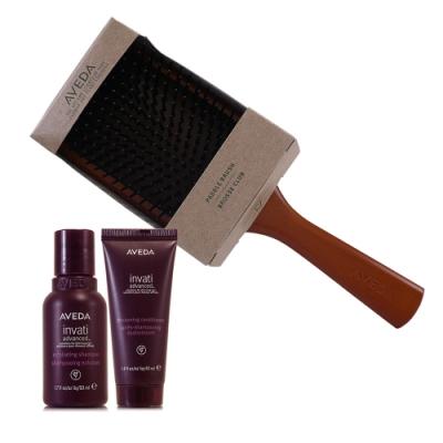 AVEDA 蘊活菁華洗髮精50ml+蘊活菁華潤髮乳40ml+木質髮梳一把