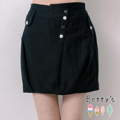 betty's貝蒂思 俏皮縫釦前開襟短裙(黑色)