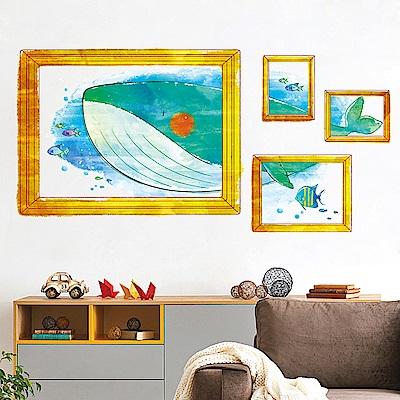 半島良品 DIY無痕壁貼-鯨魚相框 XH7235 50x70cm