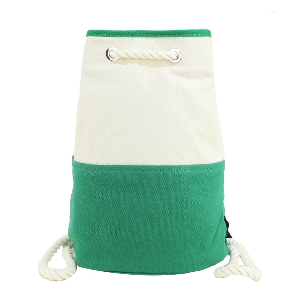 agnes b. 撞色帆布小型後背包-綠白