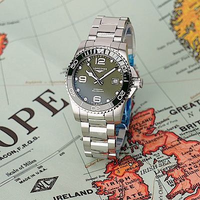 LONGINES 浪琴 深海征服者浪鬼陶瓷潛水機械錶(L37824066)-綠x銀/43mm