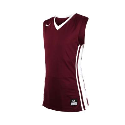 NIKE 男V領籃球針織背心-無袖背心 運動背心 球衣 酒紅