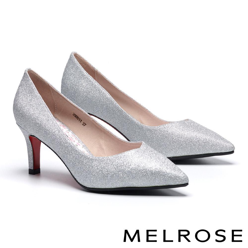 高跟鞋 MELROSE 細緻迷人閃耀金蔥尖頭高跟鞋-銀