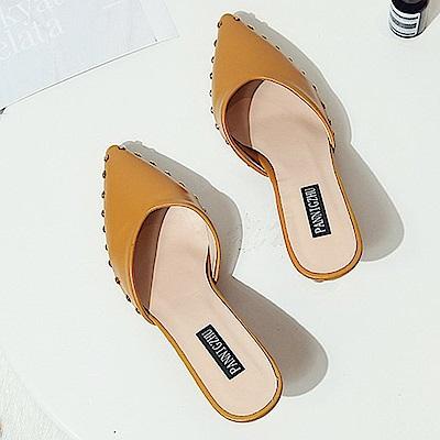 KEITH-WILL時尚鞋館 歡樂單品時髦休閒星光細跟鞋-黃色