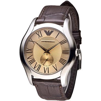 EMPORIO ARMANI皇家典藏獨立小錶盤男錶-咖啡香檳色(AR1704)/42mm