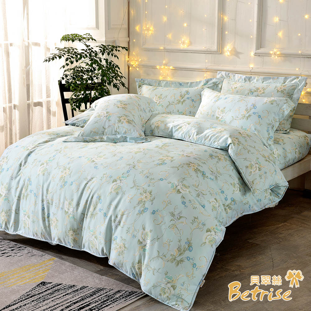 Betrise綠芙 單人-環保印染抗抗菌天絲二件式枕套床包組