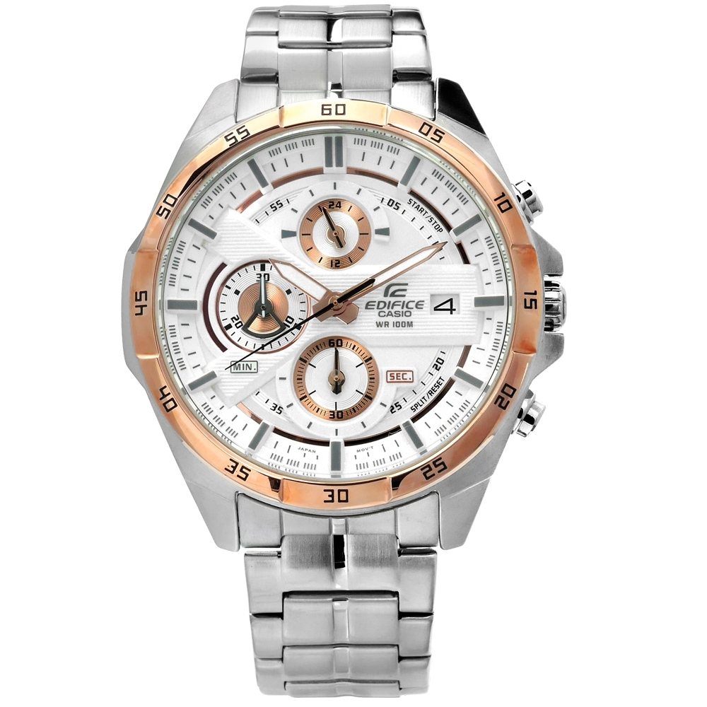 EDIFICE CASIO 卡西歐多層次不鏽鋼手錶-銀白x玫瑰金框/45mm