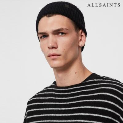 ALLSAINTS HALF 素面羊毛針織皮革標毛帽