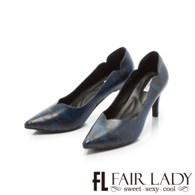 Fair Lady優雅小姐MissElegant桃心鞋口側v曲線尖頭高跟 蛇紋藍
