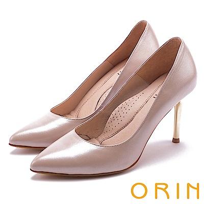 ORIN 簡約時尚名媛 真皮典雅素面高跟鞋-粉色